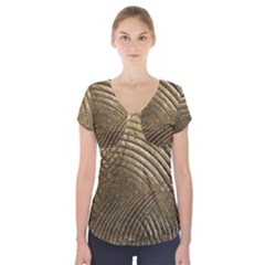 Brushed Gold Short Sleeve Front Detail Top