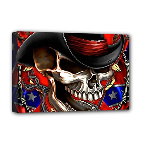 Confederate Flag Usa America United States Csa Civil War Rebel Dixie Military Poster Skull Deluxe Canvas 18  x 12