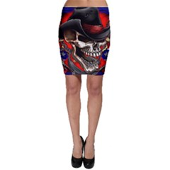 Confederate Flag Usa America United States Csa Civil War Rebel Dixie Military Poster Skull Bodycon Skirt
