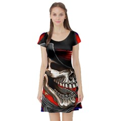 Confederate Flag Usa America United States Csa Civil War Rebel Dixie Military Poster Skull Short Sleeve Skater Dress