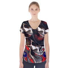 Confederate Flag Usa America United States Csa Civil War Rebel Dixie Military Poster Skull Short Sleeve Front Detail Top