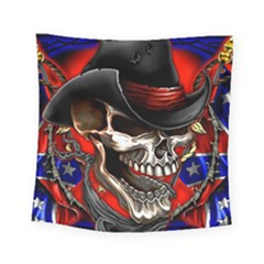 Confederate Flag Usa America United States Csa Civil War Rebel Dixie Military Poster Skull Square Tapestry (small)