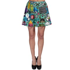 Comics Collage Skater Skirt