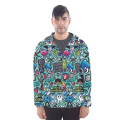 Comics Collage Hooded Wind Breaker (Men)