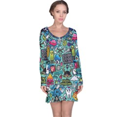 Comics Collage Long Sleeve Nightdress