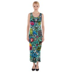 Comics Collage Fitted Maxi Dress
