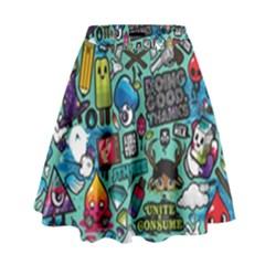 Comics Collage High Waist Skirt
