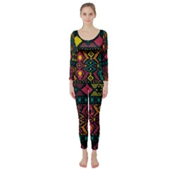 Ethnic Pattern Long Sleeve Catsuit