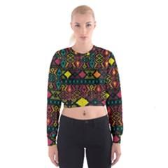 Ethnic Pattern Women s Cropped Sweatshirt