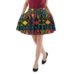 Ethnic Pattern A-Line Pocket Skirt