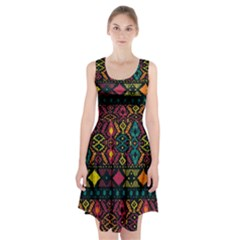 Ethnic Pattern Racerback Midi Dress