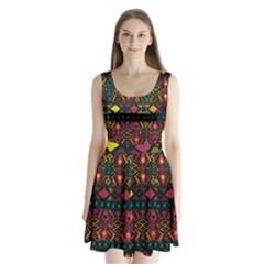 Ethnic Pattern Split Back Mini Dress