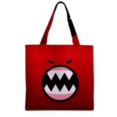 Funny Angry Zipper Grocery Tote Bag