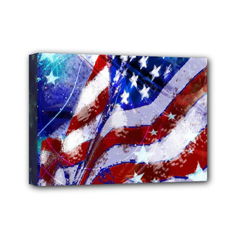 Flag Usa United States Of America Images Independence Day Mini Canvas 7  X 5