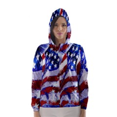 Flag Usa United States Of America Images Independence Day Hooded Wind Breaker (Women)