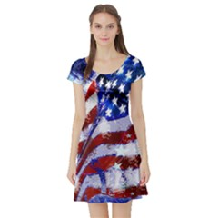 Flag Usa United States Of America Images Independence Day Short Sleeve Skater Dress