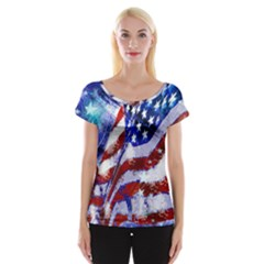 Flag Usa United States Of America Images Independence Day Women s Cap Sleeve Top