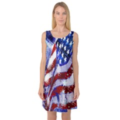 Flag Usa United States Of America Images Independence Day Sleeveless Satin Nightdress