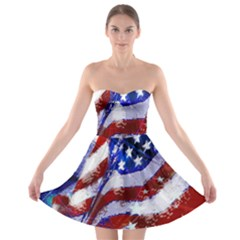 Flag Usa United States Of America Images Independence Day Strapless Bra Top Dress