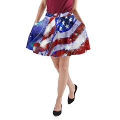 Flag Usa United States Of America Images Independence Day A-Line Pocket Skirt