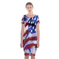Flag Usa United States Of America Images Independence Day Classic Short Sleeve Midi Dress