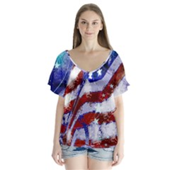 Flag Usa United States Of America Images Independence Day Flutter Sleeve Top