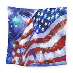 Flag Usa United States Of America Images Independence Day Square Tapestry (large)