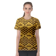 Golden Pattern Fabric Women s Sport Mesh Tee