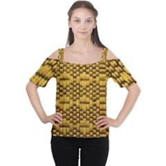 Golden Pattern Fabric Women s Cutout Shoulder Tee