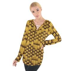 Golden Pattern Fabric Women s Tie Up Tee