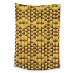Golden Pattern Fabric Large Tapestry