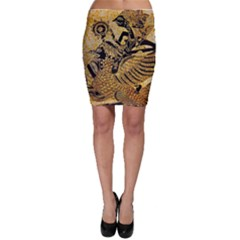 Golden Colorful The Beautiful Of Art Indonesian Batik Pattern Bodycon Skirt