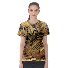 Golden Colorful The Beautiful Of Art Indonesian Batik Pattern Women s Sport Mesh Tee