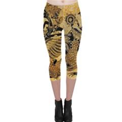 Golden Colorful The Beautiful Of Art Indonesian Batik Pattern Capri Leggings