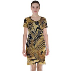 Golden Colorful The Beautiful Of Art Indonesian Batik Pattern Short Sleeve Nightdress
