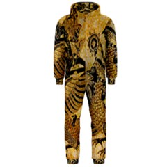 Golden Colorful The Beautiful Of Art Indonesian Batik Pattern Hooded Jumpsuit (men)