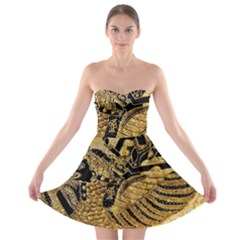 Golden Colorful The Beautiful Of Art Indonesian Batik Pattern Strapless Bra Top Dress