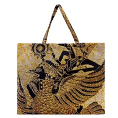 Golden Colorful The Beautiful Of Art Indonesian Batik Pattern Zipper Large Tote Bag