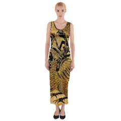 Golden Colorful The Beautiful Of Art Indonesian Batik Pattern Fitted Maxi Dress