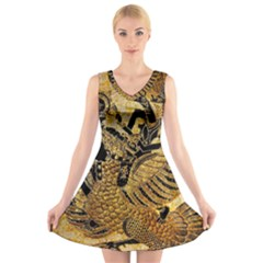 Golden Colorful The Beautiful Of Art Indonesian Batik Pattern V-Neck Sleeveless Skater Dress