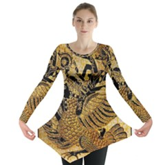 Golden Colorful The Beautiful Of Art Indonesian Batik Pattern Long Sleeve Tunic
