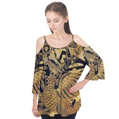 Golden Colorful The Beautiful Of Art Indonesian Batik Pattern Flutter Tees