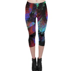 Native Blanket Abstract Digital Art Capri Leggings