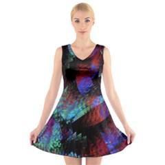 Native Blanket Abstract Digital Art V-Neck Sleeveless Skater Dress