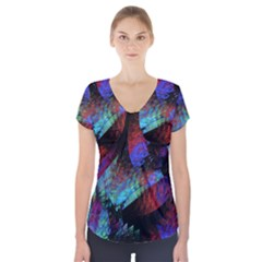 Native Blanket Abstract Digital Art Short Sleeve Front Detail Top