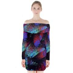 Native Blanket Abstract Digital Art Long Sleeve Off Shoulder Dress