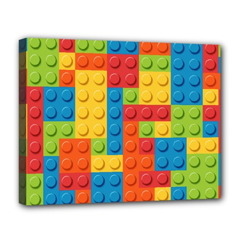 Lego Bricks Pattern Canvas 14  x 11
