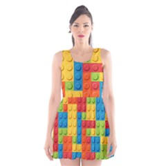 Lego Bricks Pattern Scoop Neck Skater Dress