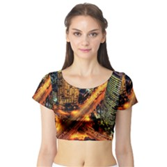 Hdri City Short Sleeve Crop Top (tight Fit)