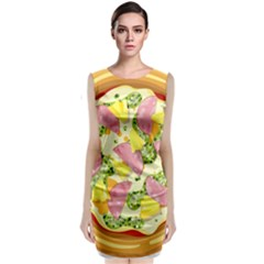 Pizza Clip Art Sleeveless Velvet Midi Dress